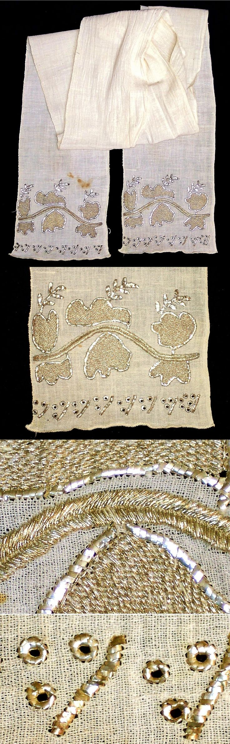An 'uçkur' (sash / waist band), generally worn by women.  From the Bursa region, ca. 1925.  Adorned with gold work embroidery (in gold) and 'tel kırma' (in silver; motives are obtained by sticking narrow metallic strips through the fabric and folding them).  Both techniques are 'two-sided' (identical on both sides).  (Inv.nr. brdw004 - Kavak Collection of Anatolian Textiles -Antwerpen/Belgium).