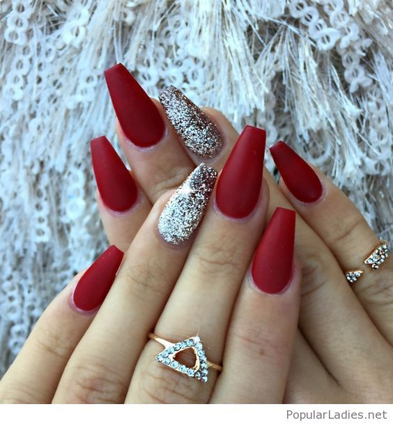 Red matte nails with some glitter - Best 25+ Red Glitter Nails Ideas On Pinterest Red Nail, Red Nail