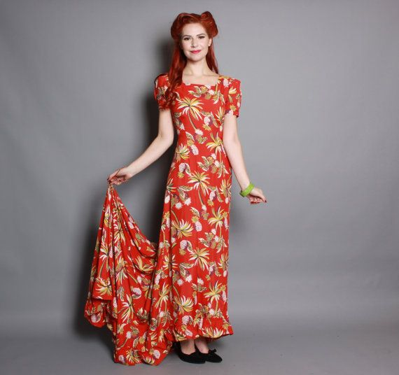 40s Rayon Hawaiian Dress Red Tropical Print By Luckydrygoods Stunning Women S Vintage Spring Summer Outdoor Gala Party Fashion Cloth
