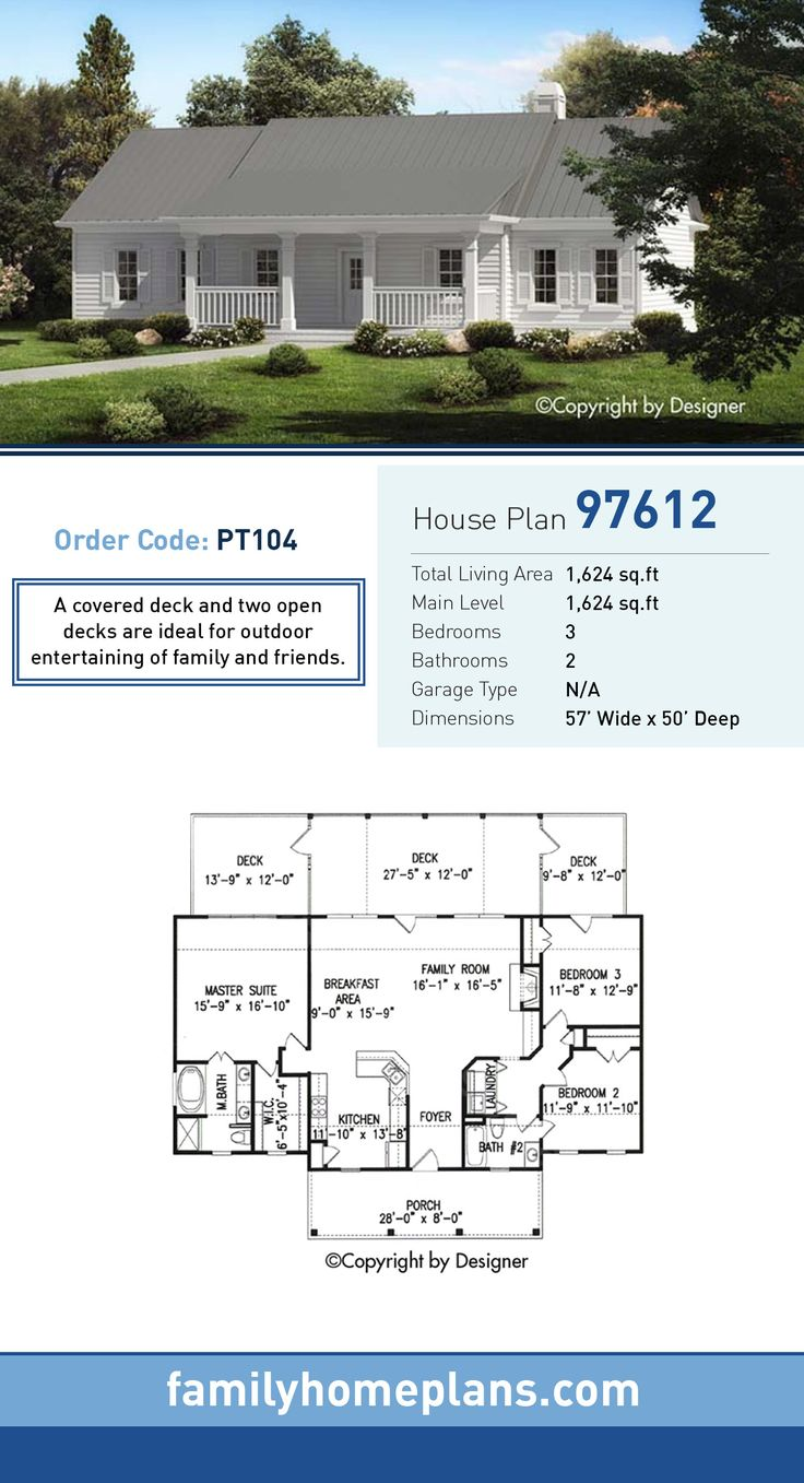 Ranch House Plan 97612 | Total Living Area: 1,624 SQ FT, 3 bedrooms and 2 bathrooms. A covered deck and two open decks are ideal for outdoor entertaining of family and friends. #ranchhome