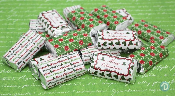 Merry Christmas Holly Party Favors - Stickers for Hershey's Miniature Candy Bars (Set of 54)