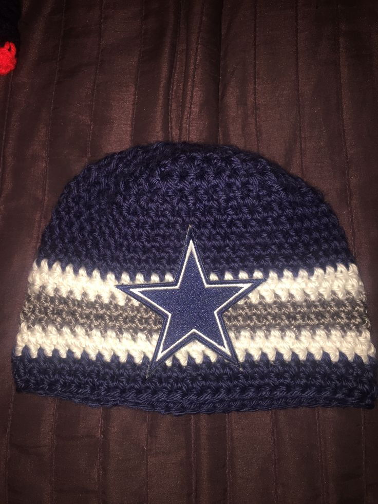 Dallas Cowboys Knit Hat Pattern : Dallas Cowboy crocheted baby beanie MADE WITH MY OWN HANDS Pinterest Co...