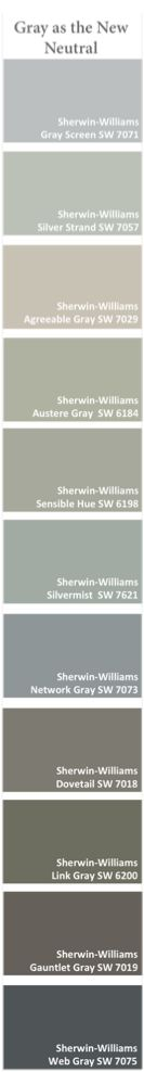 Sherwin-Williams grays: Grays are becoming more and more popular and are being used as neutral colors.  Stop in to see how gray on a sofa can really pull a room together.