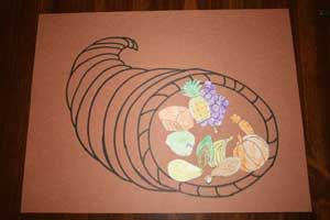cornucopia craft--I like this template. We looked up foods that were really served at the first thanksgiving and have been collecting images out of the weekly food ads to add to our cornucopia
