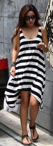 Abito-lungo-vestito-estivo-RIGHE-STRISCE-MARINAIO-asimmetrico-campana-mare-dress