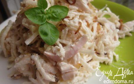 Рецепт – Назад в СССР: Салат из редьки с мясом и луком