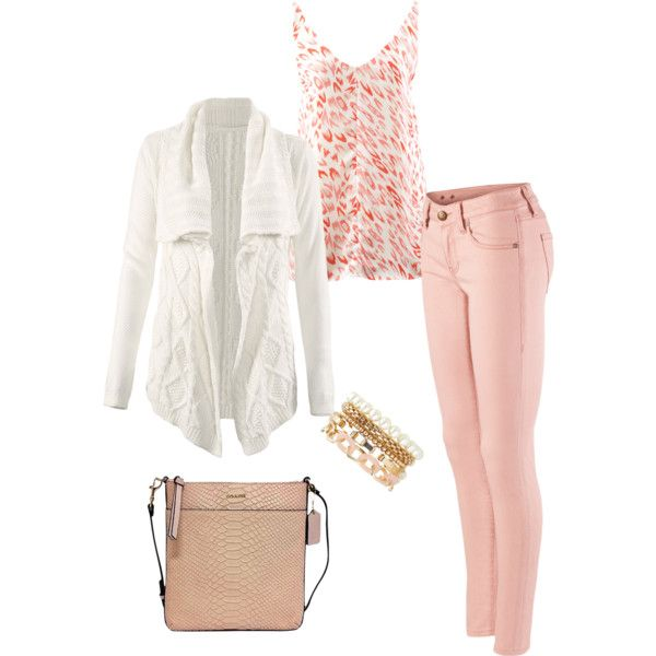 Very feminine look for Spring with the varying shades of pink.  Could also add a pop of turquoise in a long beaded necklace. www.heatherlynch.cabionline.com