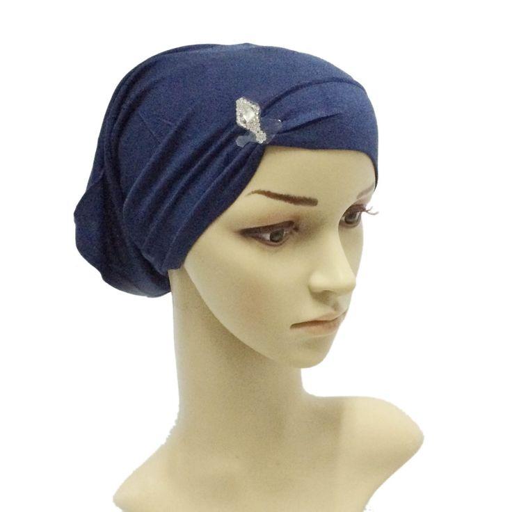 Nuevo Estilo Musulmán Turbante Hijab Pedrería de Diamantes Tubo Tapas de Cristal Malasia Sombrero Bajo La Bufanda Capo Envío Gratis(China (Mainland))