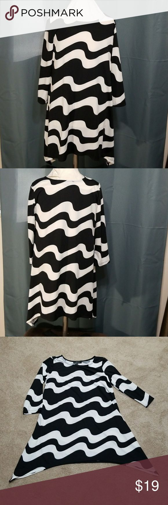 LBisse tunic black and white blouse Black and white 3/4 sleeve tunic blouse lbisse Tops Tunics