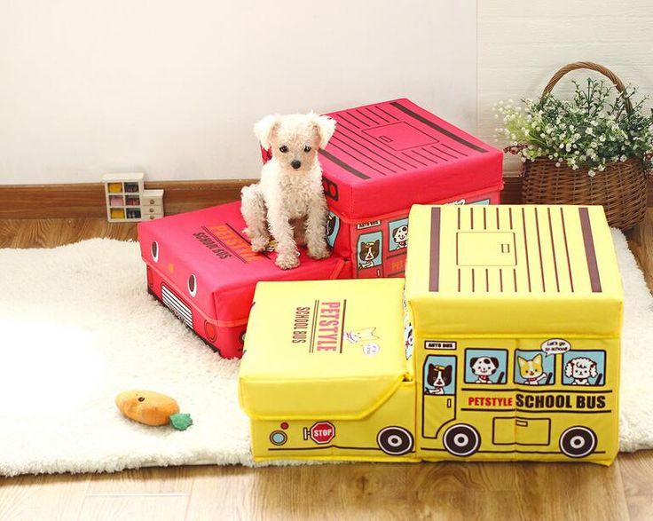 ==> [Free Shipping] Buy Best 15PT10 Pet Furniture Cute Cartoon School Bus Pet Stairs Folded Storage Box Folding Stairs 2-step Dog Stairs 1PC Online with LOWEST Price | 32547187325