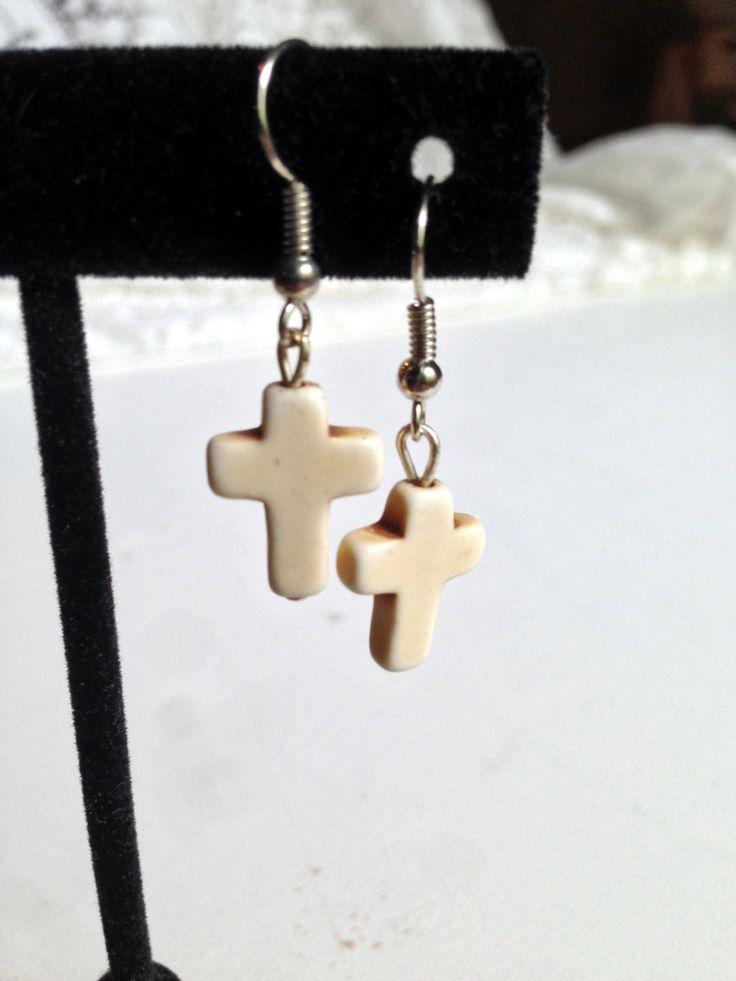 Cross Earrings, Ivory Color, Cross Jewelry, Dangle Earrings, Crucifix Bead, Cream, Off White Color by DustyRemnants on Etsy