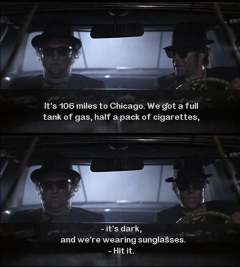 It's 106 miles to Chicago.  We got a full tank of gas, half a pack of cigarettes, it's dark, and we're wearing sunglasses.  HIT IT!