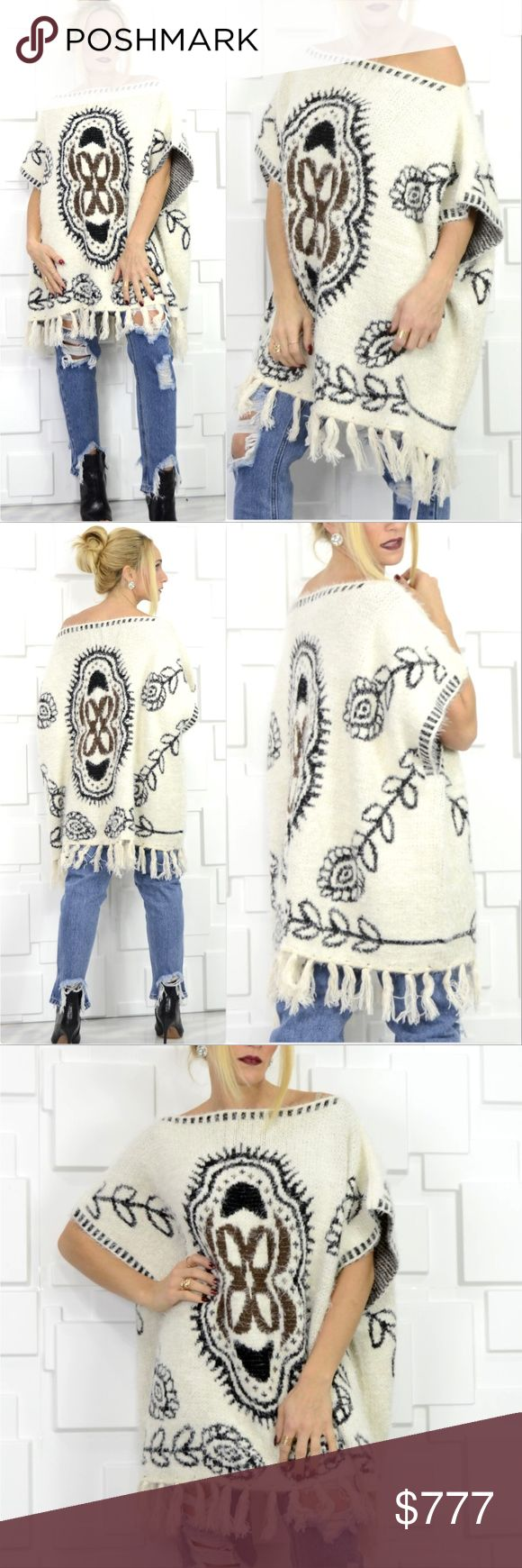 ULTRA SOFT PONCHO/SHRUG BRAND NEW BOUTIQUE ITEM PRICING IS FIRM  Check out this fabulous ULTRA SOFT poncho/sweater with fun multi colored print, tassel detailed hemline and arm holes. Pair with jeans or leggings, a long sleeved top and boots for a fab look!!! This will be a staple idea for your fall/ winter wardrobe or would also make a great gift idea!  ONE SIZE 100% ACRYLIC  winter fall gift present holiday party event christmas thanksgiving cardigan wrap shrug sweaters . Sweaters Shrugs…