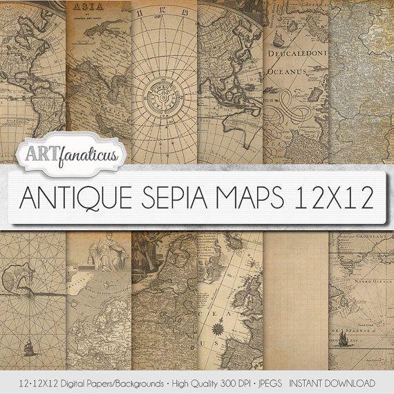 "Antique maps 12x12 digital paper ""ANTIQUE SEPIA MAPS 12x12"" backgrounds,sepia, vintage map, world map, America, Europe, Asia, Australia"