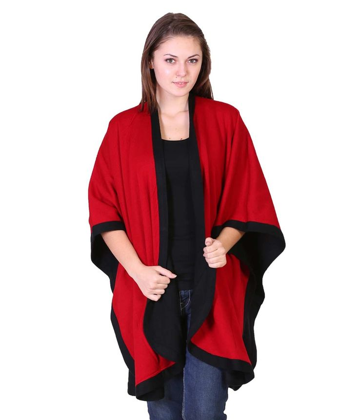 Herimages Ladies Red And Black Woolen Reversible Cape, http://www.snapdeal.com/product/herimages-ladies-red-and-black/1173836607