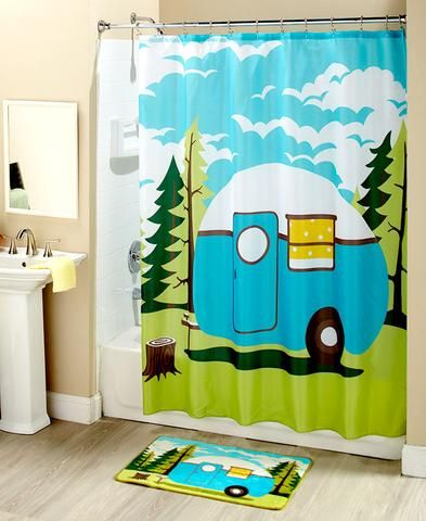 Retro RV Camper Camping Themed Bathroom Accessories Blue Green White