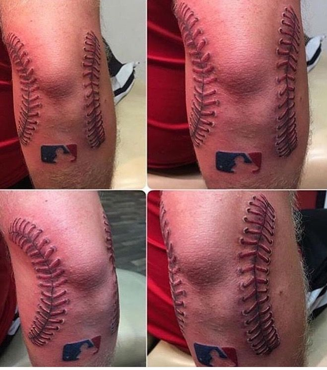 Baseball ball elbow scar tattoo