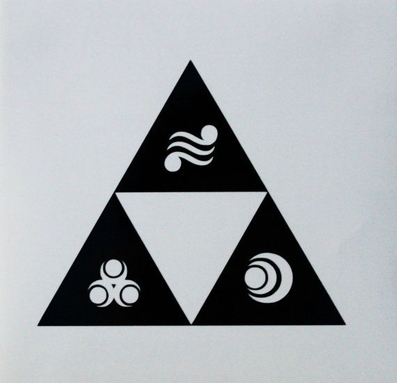 This decal features a Triforce with the the marks of the three goddesses (Din, Farore, and Nayru). Dimensions: Main decal: 4.6 x 4