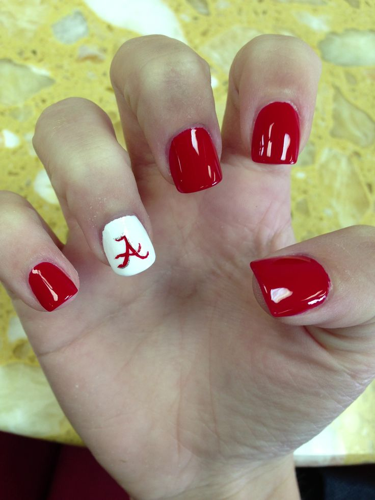 Def not Alabama nails. Would be cute orange and with power T.. Alabama football nails