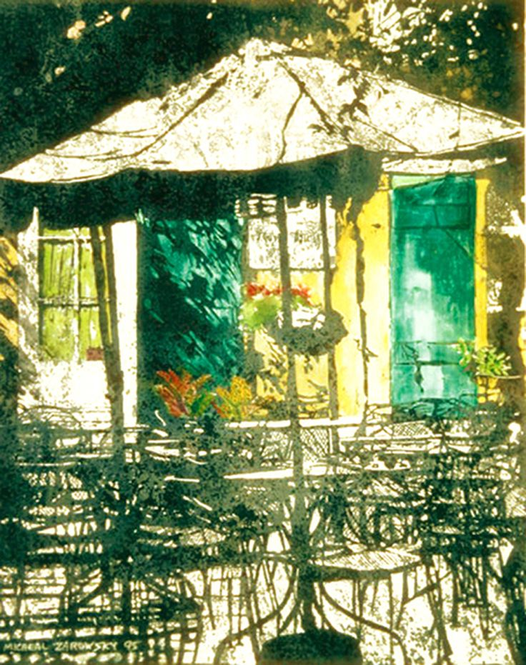 "seclcuded backyard n orleans 30"" x 22""   micheal zarowsky - watercolour on arches paper available 2100.00 (unfr)"