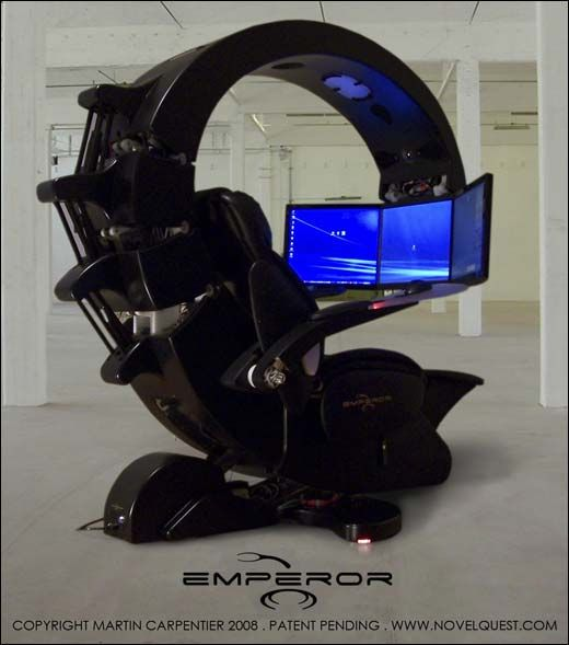 Office chair-command-center similar to that used by the nerdy guy from Grandma's Boy.