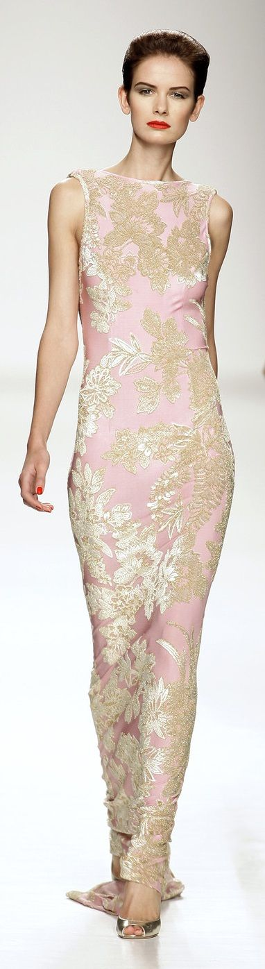 Rosamaria G Frangini | Haute Couture | Flower Essence | Lorenzo Riva Pink* and Gold Dress