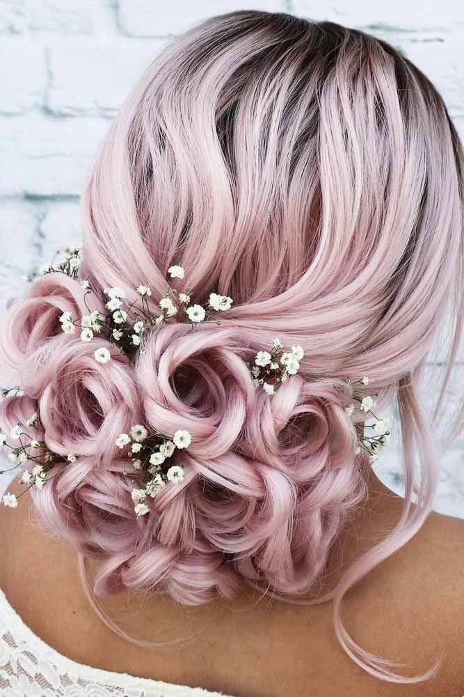 Rose #Updo #With #Flowers #weddingupdo #weddinghair