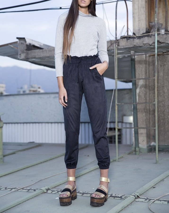 Victoria Pants with drawstring paper bag waist. By SOFIA