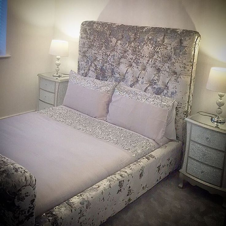 #happycustomers With their Bespoke Double Crushed Velvet Bed, available to order for £1100, Mosaic 3 Drawer Bedsides £195 each, Mosaic Ball Lamps £45 each #bespokeservices #homeinteriors (Bedding Customer's own)