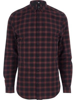 River Island Mens Red check slim fit shirt