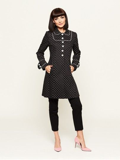 Trista Polka Dot Coat with cream piping & super cute buttons @ Review
