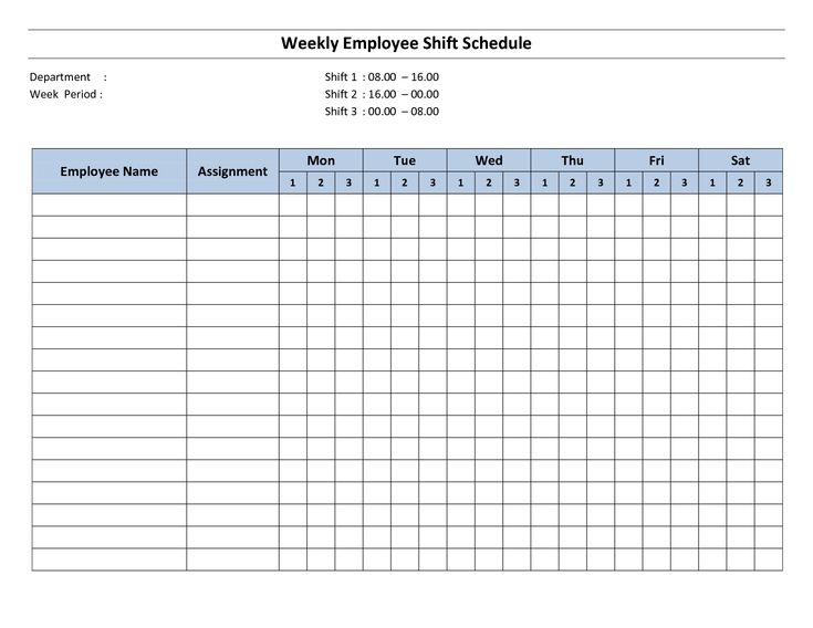 Free Printable Employee Work Schedules Weekly Employee Shift - work schedule