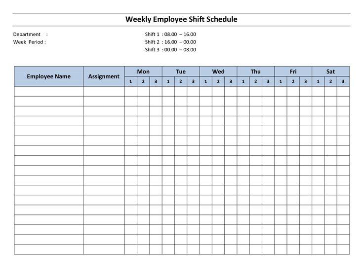 8+ blank work schedule template | Memo Formats