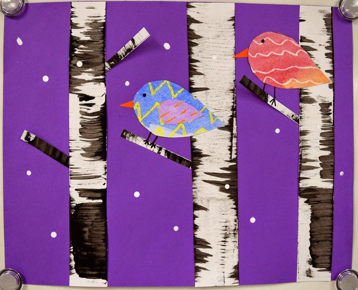 Art with Mrs. Nguyen (FKA - Art with Ms. Gram): Winter Birds and Birch Trees (1st)