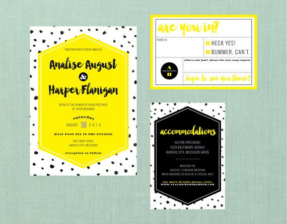 Abstract Dots Wedding Suite // DIY PRINTABLE Invite + RSVP // Modern Wedding…