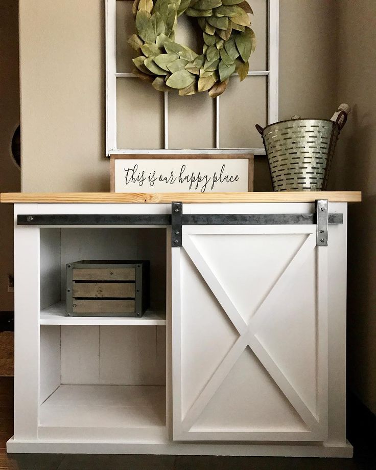 White Farmhouse Sliding Door Cabinet: Best 25+ Barn Door Tables Ideas On Pinterest
