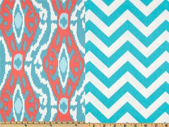 Reversible Duvet Cover Ikat Aqua and Coral Dorm Twin, Twin and Full / Queen on Etsy, $135.00