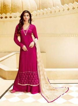 Magenta wedding wear Pakistani palazzo kamiz suit in tussar silk