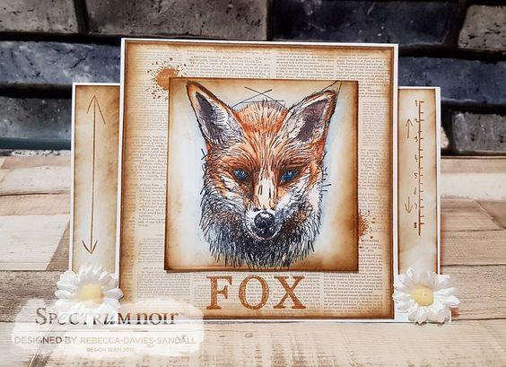 Card made using Sheena Douglass – A Little Bit Sketchy - Foxl - coloured using Spectrum Noir ColourTint pencils - Nature & Primary Designed by Rebecca Davies-Sandall #crafterscompanion #spectrumnoir