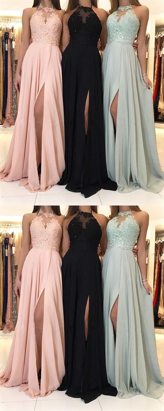 c03aa2bff7 Charming Lace Halter Long Chiffon Split Evening Gowns  hiprom  prom   promdresses  longpromdresses  promdress  2018promdresses  2018promgown