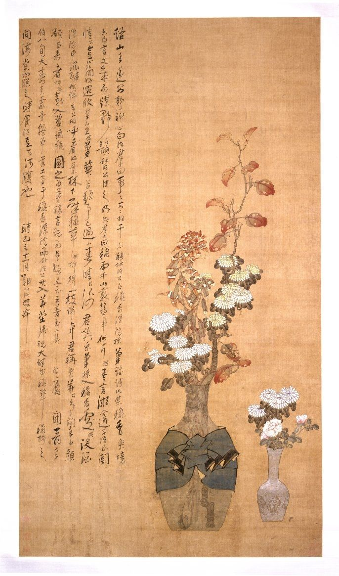 Chen Hongshou (1598 - 1652), Flower Vase, Ming dynasty, 1635. Hanging scroll. Painted in ink and colours on silk. © The Trustees of the British Museum.