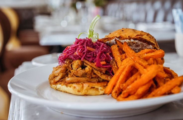 Feel free to pig out on the Hot Pulled Pork sandwich!