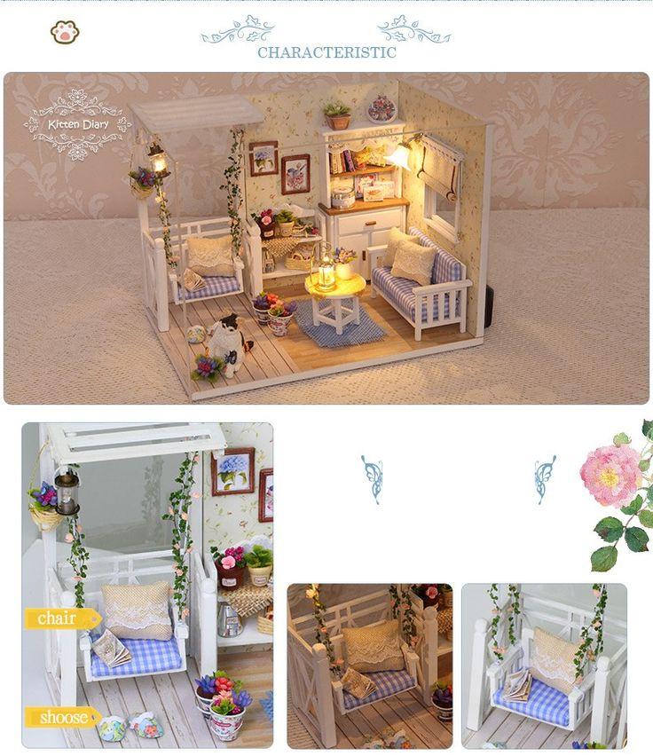 Кукольный Дом Мебель Diy Миниатюрный Пылезащитный Чехол 3D Деревянные Miniaturas Dollhouse Игрушки для Детей День Рождения Подарки Котенок Дневник купить на AliExpress