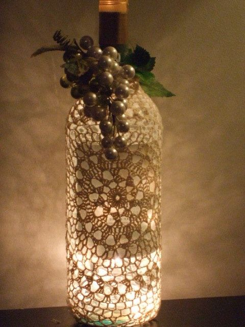 Turn a wine bottle into a lighting accent - After the Party: 5 Ways to Upcycle Wine Bottles. Or, use for beautiful bottles of wine at Passover.