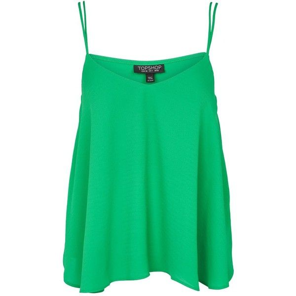 Topshop Rouleau Swing Camisole Top ($13) ❤ liked on Polyvore featuring tops, bright green, strappy top, long length tops, topshop tops, green top and long camisole