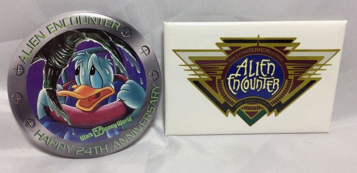 2 Walt Disney World ALIEN ENCOUNTER Button Pin Lot 24th Anniversary Cast Member   | eBay