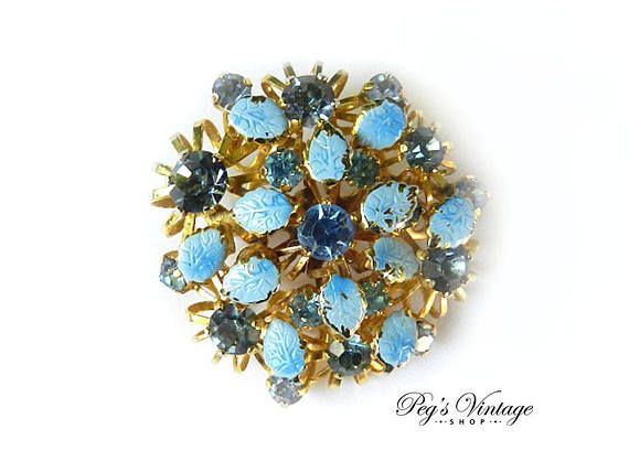 Vintage Light Blue Crystal Rhinestone Brooch Blue  Enamel