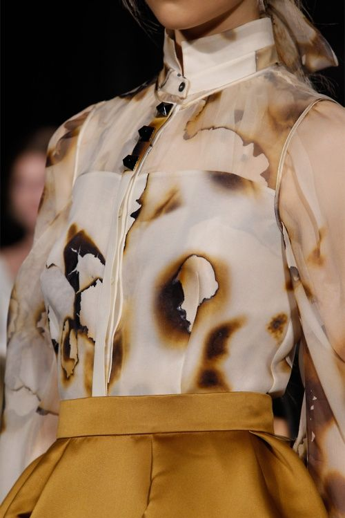 "fabric manipulation at giles fall 2012 - ""burnt paper"" blouse"
