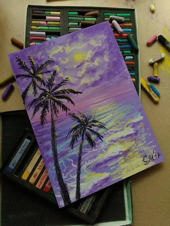 Palm Tree decor Purple painting art Original Pastel landscape