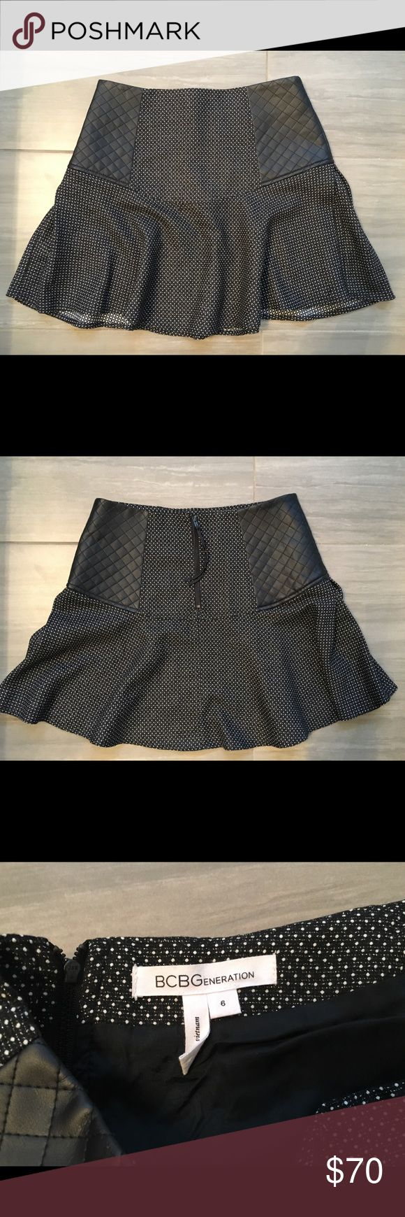 BCBG black leather quilt mini skirt - never worn!! Super cute fall winter skirt! Great with booties or knee high boots. Brand new never worn. BCBGeneration Skirts Mini